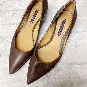 Ralph Lauren brown leather pointy kitten heels 8.5